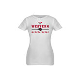 Youth Girls White Fashion Fit T Shirt-Western Mountaineers Stacked w W and Mad Jack