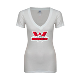 Next Level Ladies Junior Fit Deep V White Tee-Interlocking W Mountaineers - Official Logo