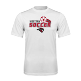 Performance White Tee-Soccer Swoosh Design