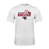 Syntrel Performance White Tee-Soccer Swoosh Design