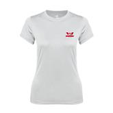 Ladies Syntrel Performance White Tee-Interlocking W Mountaineers - Official Logo