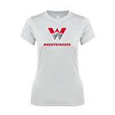 Ladies Syntrel Performance White Tee-W Mountaineers