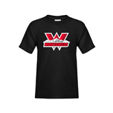 Youth Black T Shirt-Interlocking W Mountaineers - Official Logo