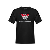 Youth Black T Shirt-W Mountaineers