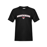 Youth Black T Shirt-Arched Mountaineers w/ W