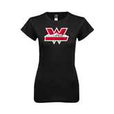 Next Level Ladies SoftStyle Junior Fitted Black Tee-Interlocking W Mountaineers - Official Logo