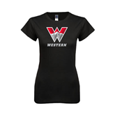 Next Level Ladies SoftStyle Junior Fitted Black Tee-W Western