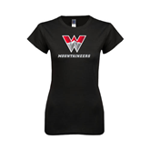 Next Level Ladies SoftStyle Junior Fitted Black Tee-W Mountaineers