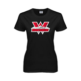Ladies Black T Shirt-Interlocking W Mountaineers - Official Logo