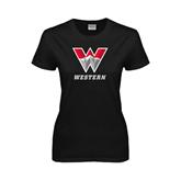 Ladies Black T Shirt-W Western