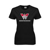 Ladies Black T Shirt-W Mountaineers