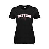 Ladies Black T Shirt-Arched Western w/ Mad Jack