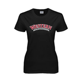 Ladies Black T Shirt-Arched Western Mountaineers