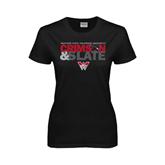 Ladies Black T Shirt-Crimson and Slate