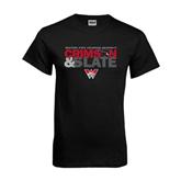 Black T Shirt-Crimson and Slate