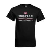 Black T Shirt-Western Mountaineers Stacked w W and Mad Jack