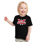 Toddler Black T Shirt-Interlocking W Mountaineers - Official Logo