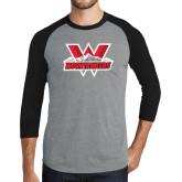 Grey/Black Tri Blend Baseball Raglan-Interlocking W Mountaineers - Official Logo