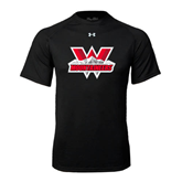 Under Armour Black Tech Tee-Interlocking W Mountaineers - Official Logo
