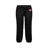 ENZA Ladies Black Banded Fleece Capri-Interlocking W Mountaineers - Official Logo