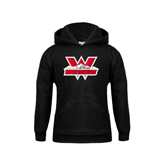 Youth Black Fleece Hoodie-Interlocking W Mountaineers - Official Logo