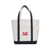 Contender White/Black Canvas Tote-Interlocking W Mountaineers - Official Logo