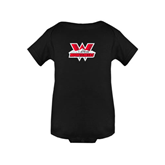 Black Infant Onesie-Interlocking W Mountaineers - Official Logo