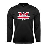 Performance Black Longsleeve Shirt-Interlocking W Mountaineers - Official Logo