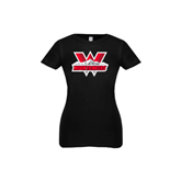 Youth Girls Black Fashion Fit T Shirt-Interlocking W Mountaineers - Official Logo