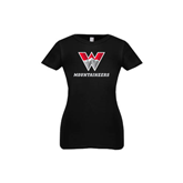 Youth Girls Black Fashion Fit T Shirt-W Mountaineers
