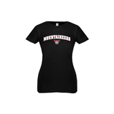 Youth Girls Black Fashion Fit T Shirt-Arched Mountaineers w/ W