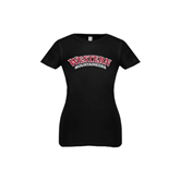 Youth Girls Black Fashion Fit T Shirt-Arched Western Mountaineers
