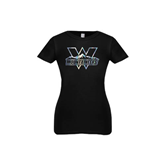 Youth Girls Black Fashion Fit T Shirt-Interlocking W Mountaineers - Official Logo Foil