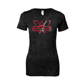 Next Level Ladies Junior Fit Black Burnout Tee-Interlocking W Mountaineers - Official Logo Foil
