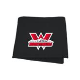 Black Sweatshirt Blanket-Interlocking W Mountaineers - Official Logo