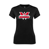 Ladies Syntrel Performance Black Tee-Interlocking W Mountaineers - Official Logo
