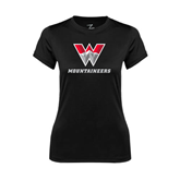 Ladies Syntrel Performance Black Tee-W Mountaineers