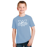 Youth Light Blue T Shirt-Interlocking W Mountaineers - Official Logo