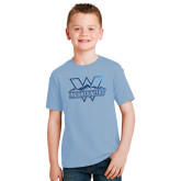 Youth Light Blue T Shirt-Interlocking W Mountaineers - Official Logo Foil