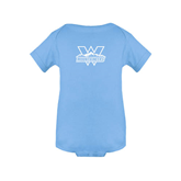 Light Blue Infant Onesie-Interlocking W Mountaineers - Official Logo