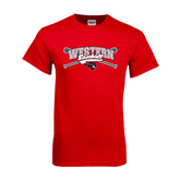 Red T Shirt-Baseball Crossed Bats Design