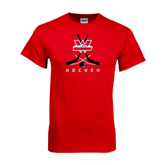Red T Shirt-Hockey Crossed Sticks Design