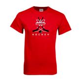 Red T Shirt-Hockey Crossed Sticks Design