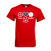 Red T Shirt-Peace, Love and Volleyball Design