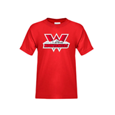 Youth Red T Shirt-Interlocking W Mountaineers - Official Logo