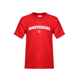 Youth Red T Shirt-Arched Mountaineers w/ W