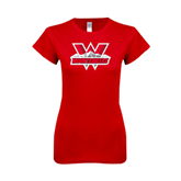 Next Level Ladies SoftStyle Junior Fitted Red Tee-Interlocking W Mountaineers - Official Logo