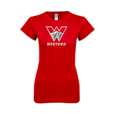 Next Level Ladies SoftStyle Junior Fitted Red Tee-W Western