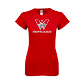 Next Level Ladies SoftStyle Junior Fitted Red Tee-W Mountaineers