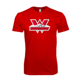 Next Level SoftStyle Red T Shirt-Interlocking W Mountaineers - Official Logo